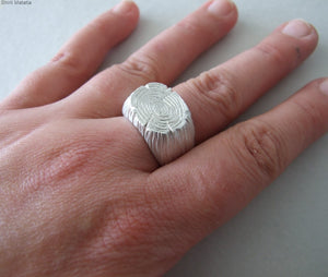 White Gold Rustic Tree Ring