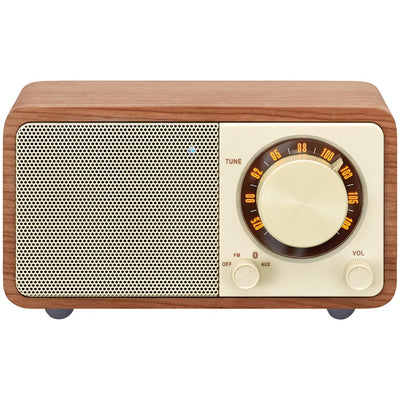 Sangean WR-7WL WR-7 Series Mini Wood-Cabinet Bluetooth(R) Speaker with FM Tuner (Walnut)