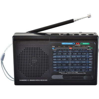 Supersonic(R) SC-1080BT- BLK 9-Band Rechargeable Bluetooth(R) Radio with USB/SD(TM) Card Input (Black)