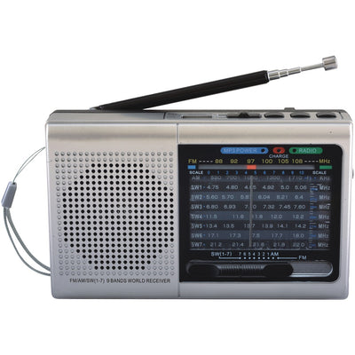 Supersonic(R) SC-1080BT- SLV 9-Band Rechargeable Bluetooth(R) Radio with USB/SD(TM) Card Input (Silver)