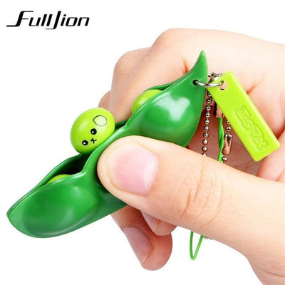 Fulljion Antistress Novelty Gag Toys Entertainment Fun Squishy Beans Squeeze Funny Gadgets Stress Relief Toy Pendants Kids Gifts