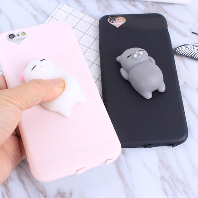 Squishy Cat Soft Phone Case for iPhone 5s SE 6 6s Cute Case for iPhone 8 7 6s 8 plus 3D Doll Phone Accessories Capa NEW