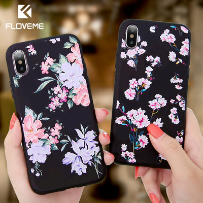 FLOVEME Case For iPhone 5S 5 SE 6 6s 3D Relief Flower Soft Silicone Phone Cases For iPhone X 7 8 6 Plus Floral Cover Accessories