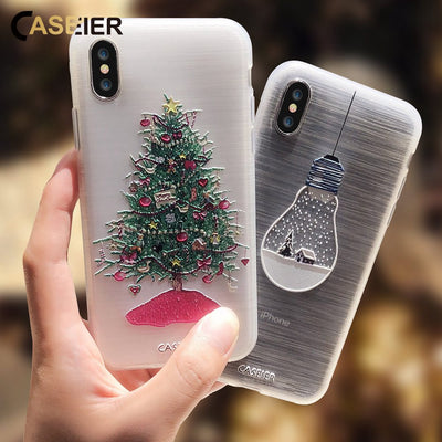 CASEIER Christmas Phone Case For iPhone X 8 7 6S 6 Plus XS Max 5S SE 2019 NEW Year Cases For iPhone 6 6S 7 8 Plus 10 Accessories