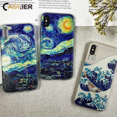 CASEIER Vintage Painting Phone Case For iPhone 6 6s Case Soft Cover For iPhone 7 8 Plus 5 5s SE X XS MAX XR S9 Funda Accessories