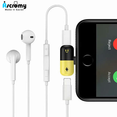 Ascromy Dual Ports Adapter Splitter For iPhone X 10 8 7 Plus 8 Pin Headphone Jack Aux Charging Cable Adaptor Phone Accessories