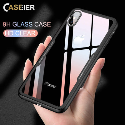 CASEIER Tempered Glass Phone Case For iPhone 7 8 Cases 0.7MM Glass Cover For iPhone X XS Max XR 6 6s Plus Case Funda Accessories