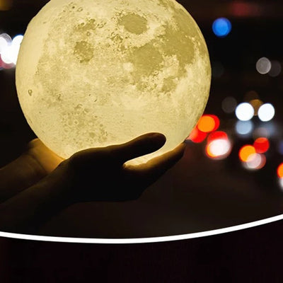 USB Gadget Rechargeable 3D Print Moon Lamp Usb Light Touch Switch Bedroom Bookcase Gadget Home Decoration Intelligent Charging
