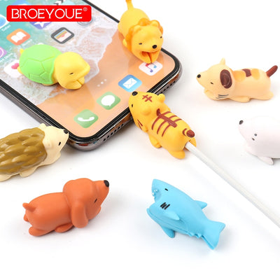 Cable Bite Protector For iPhone Cable Winder Phone Holder Accessory Chompers Rabbit Dog Cat Animal Doll Model Funny Dropshipping