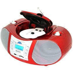 Boytone BT-6R CD Boombox Red Metallic color Edition Portable Music System with CD Pl