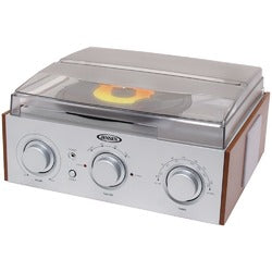 JENSEN(R) JTA-220 3-Speed Stereo Turntable with AM/FM Receiver & 2 Built-in Speakers