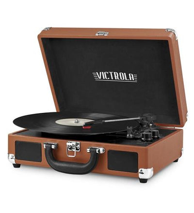 Bluetooth Suitcase Turntable in Cognac