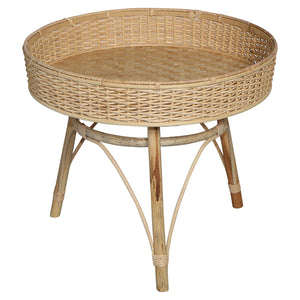 Woven Rattan Table Timber Legs