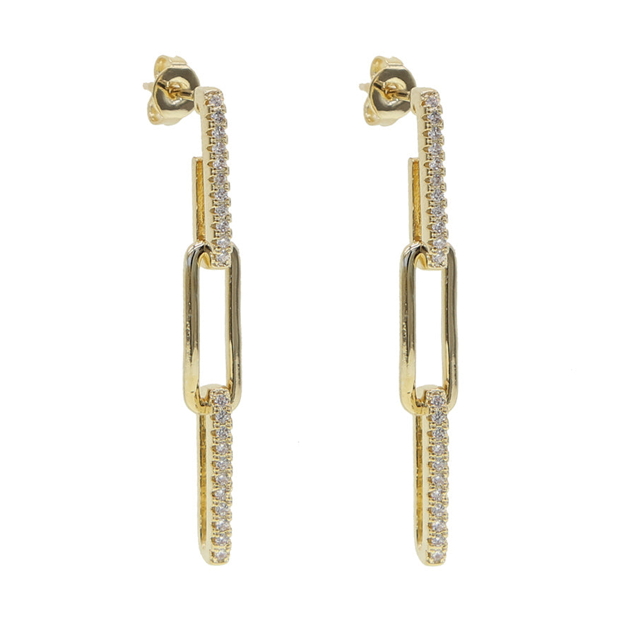 Half Pave Chain Earrings - House of Carats