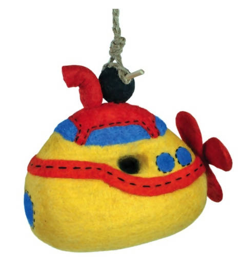 Yellow Submarine Wild Woolie Birdhouse