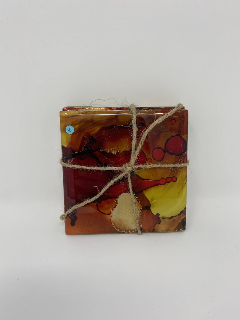 Smooth Resin and Alcohol Ink Coaster set