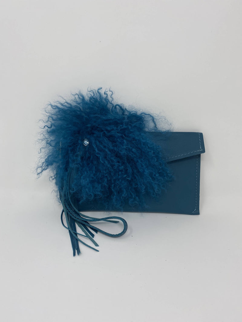 Handcrafted Teal Tibetan Lamb Fur Bag