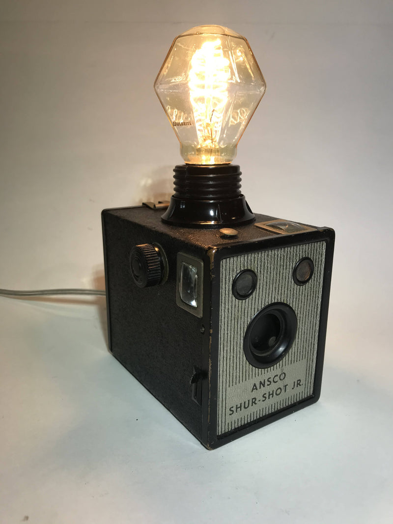 Vintage Upcycled Ensco Shur-Shot Box Camera Accent Lamp (silver cord)