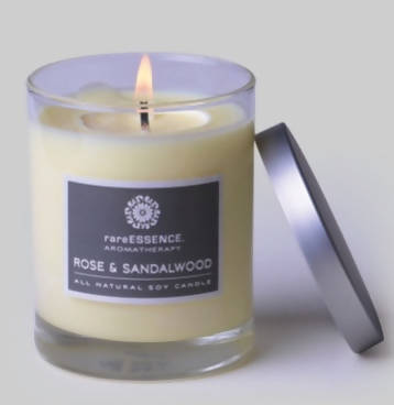Rare Essence Candle, Rose and Sandalwood