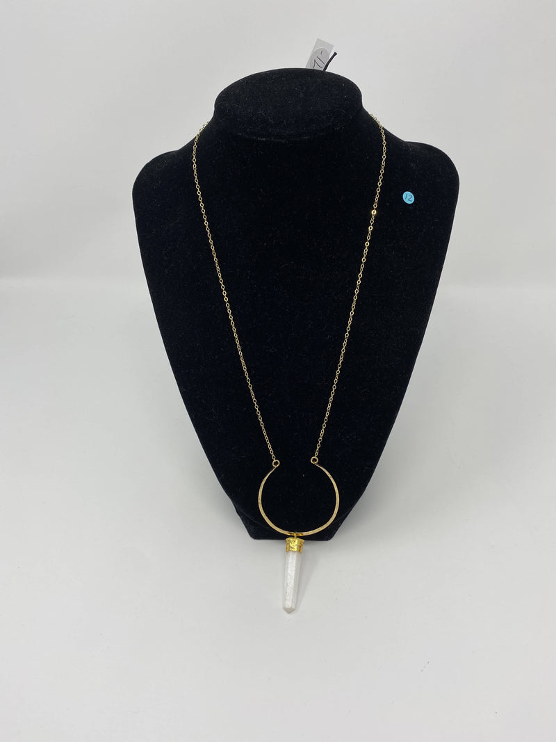 Gorgeous 20-inch Gold Chain Artisan Necklace with Hoop and Crystal Pendant