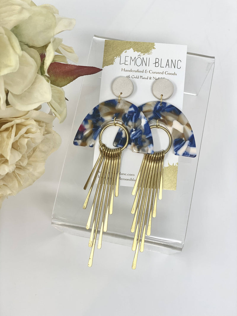 Gold- Blue Terrazzo Earrings