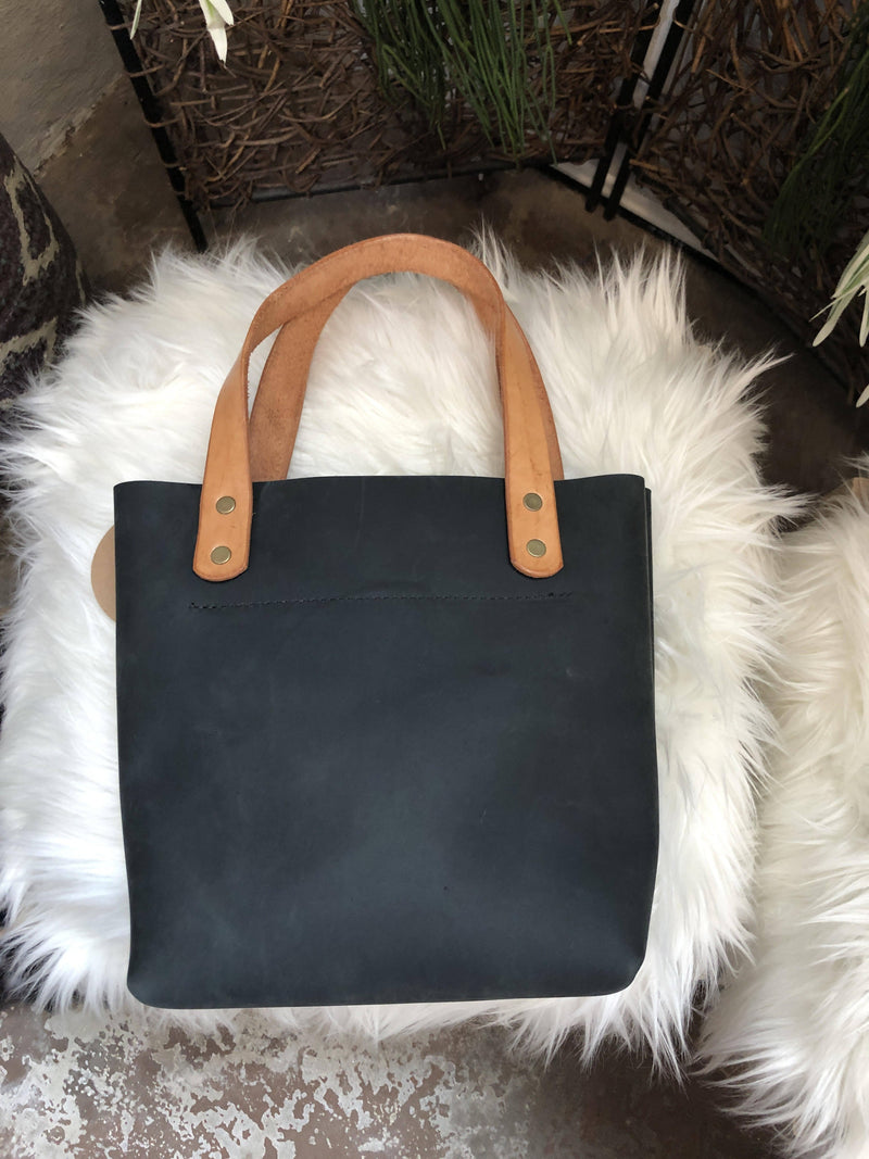 Small Black Leather Tote