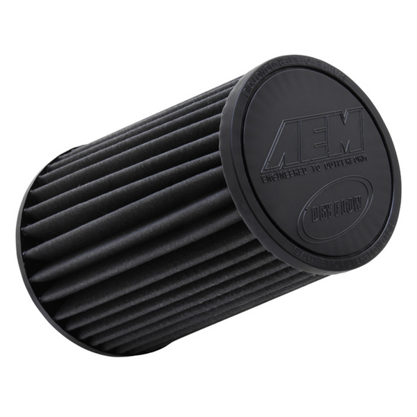 AEM Replacement Universal DryFlow Round Tapered Filter 4in Flg ID/5.125in Top OD/6.5in Base OD/9in H