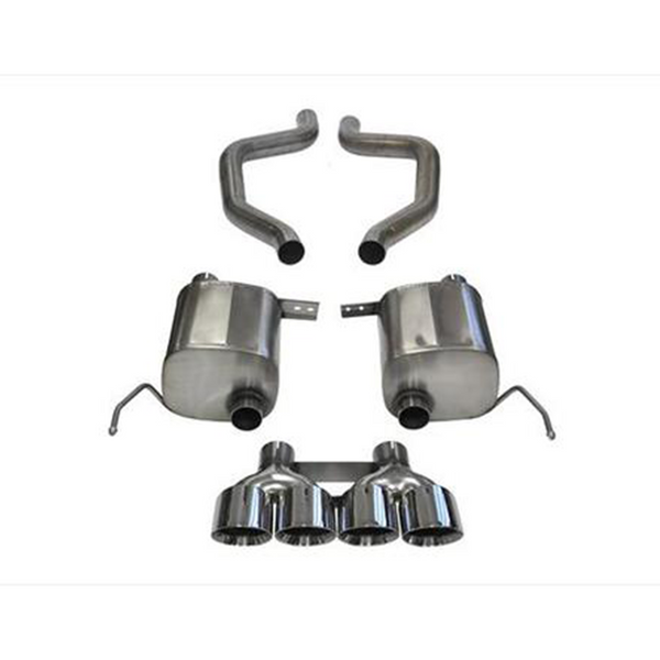 "Corsa Chevrolet Corvette 2.75"" Dual Rear Exit Axle-Back Exhaust System with Quad 4.5"" Tips Sport Sound Level"