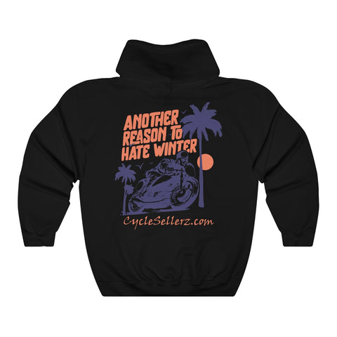 """Hate Winter"" Heavy Blend Hooded Sweatshirt"