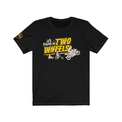 """Life Begins"" Yellow & Gray Mens Sport Bike Edition Short Sleeve Tee"
