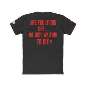 """Living Life"" Men's Crew Tee - Red Text"