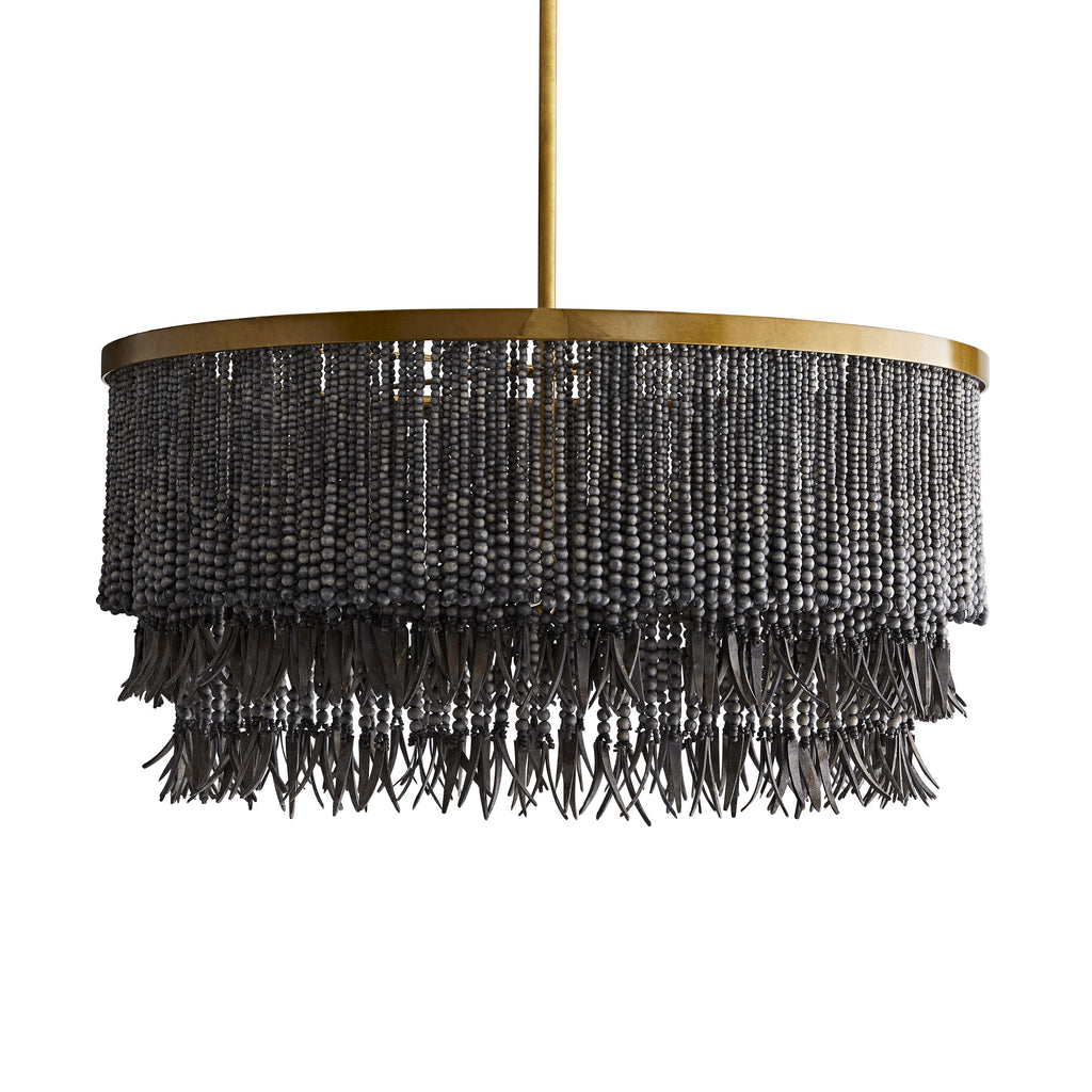 antique brass and wood bead chandelier