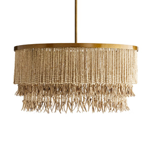 antique brass and natural wood bead chandelier