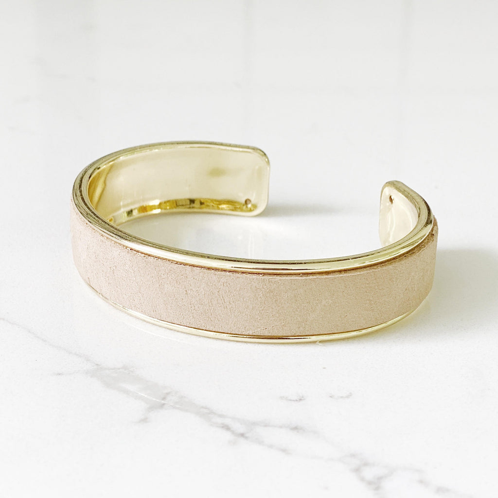 st. tropez gold cuff in sable tan