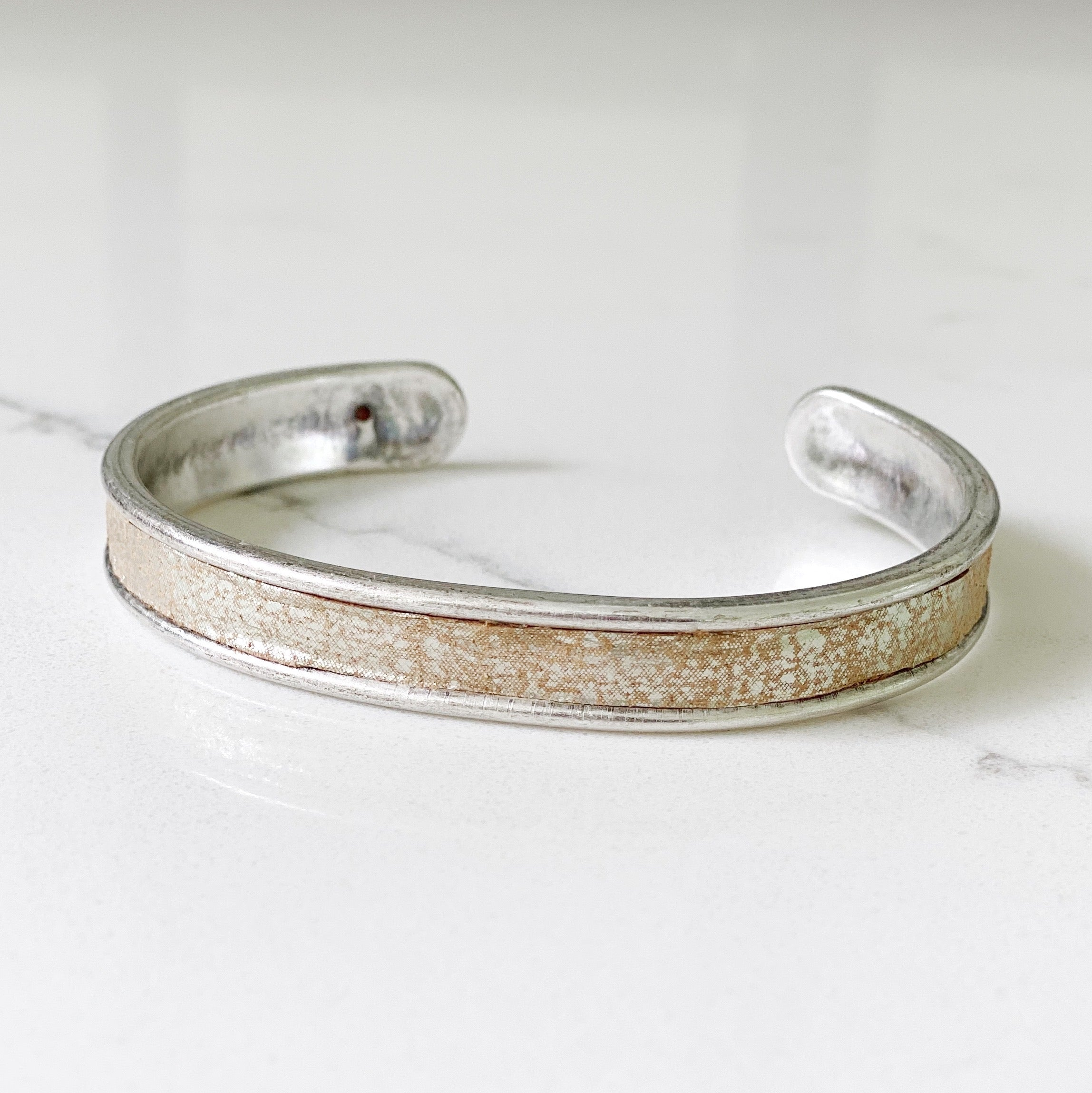 champagne distressed leather silver cuff
