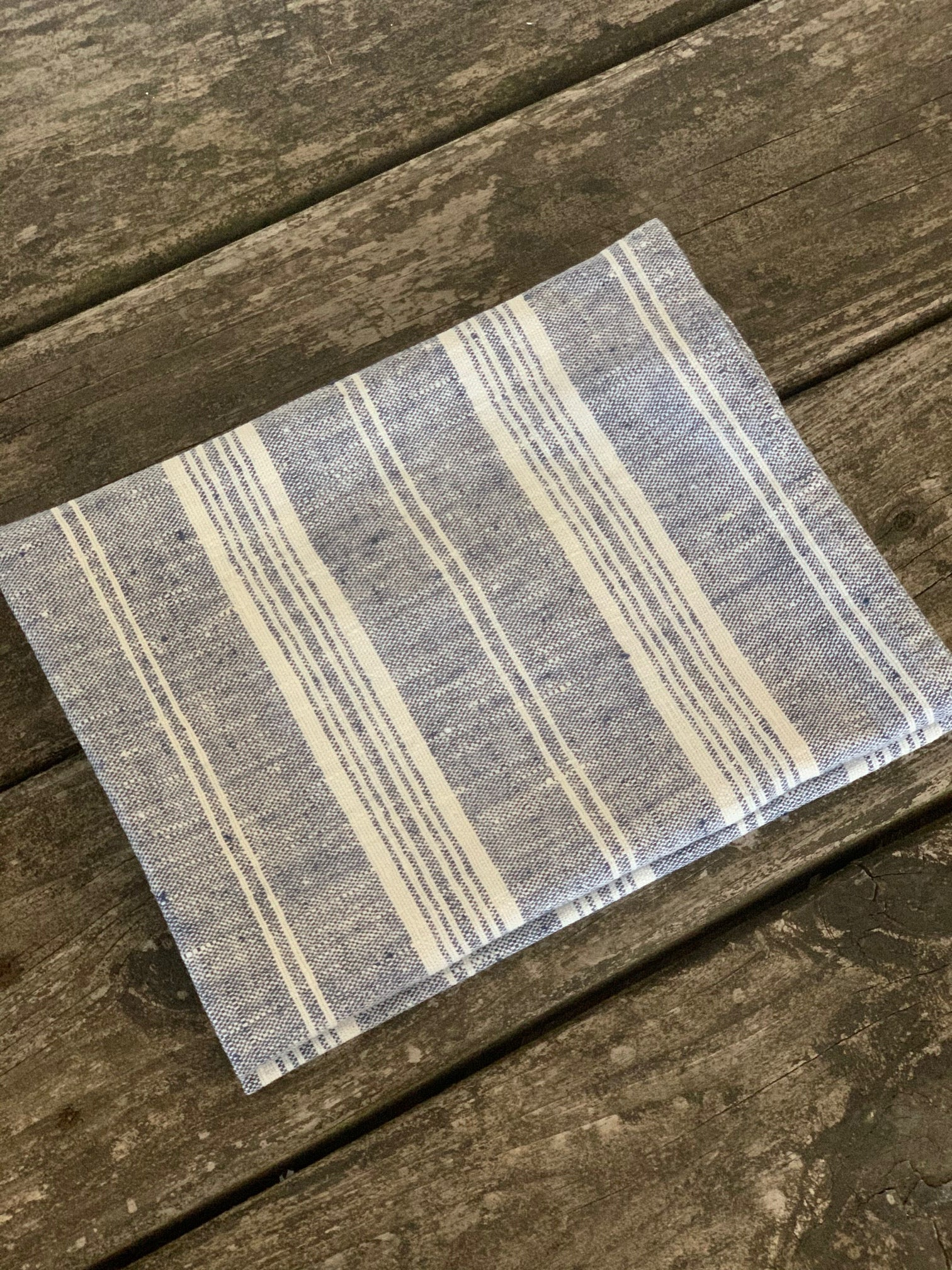 pair of linen hand towels with multi stripes- indigo