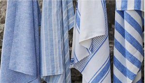 linen beach blanket/ towel - blue and white multi stripe