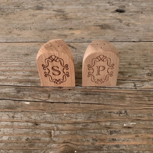 etched beechwood salt and pepper shakers