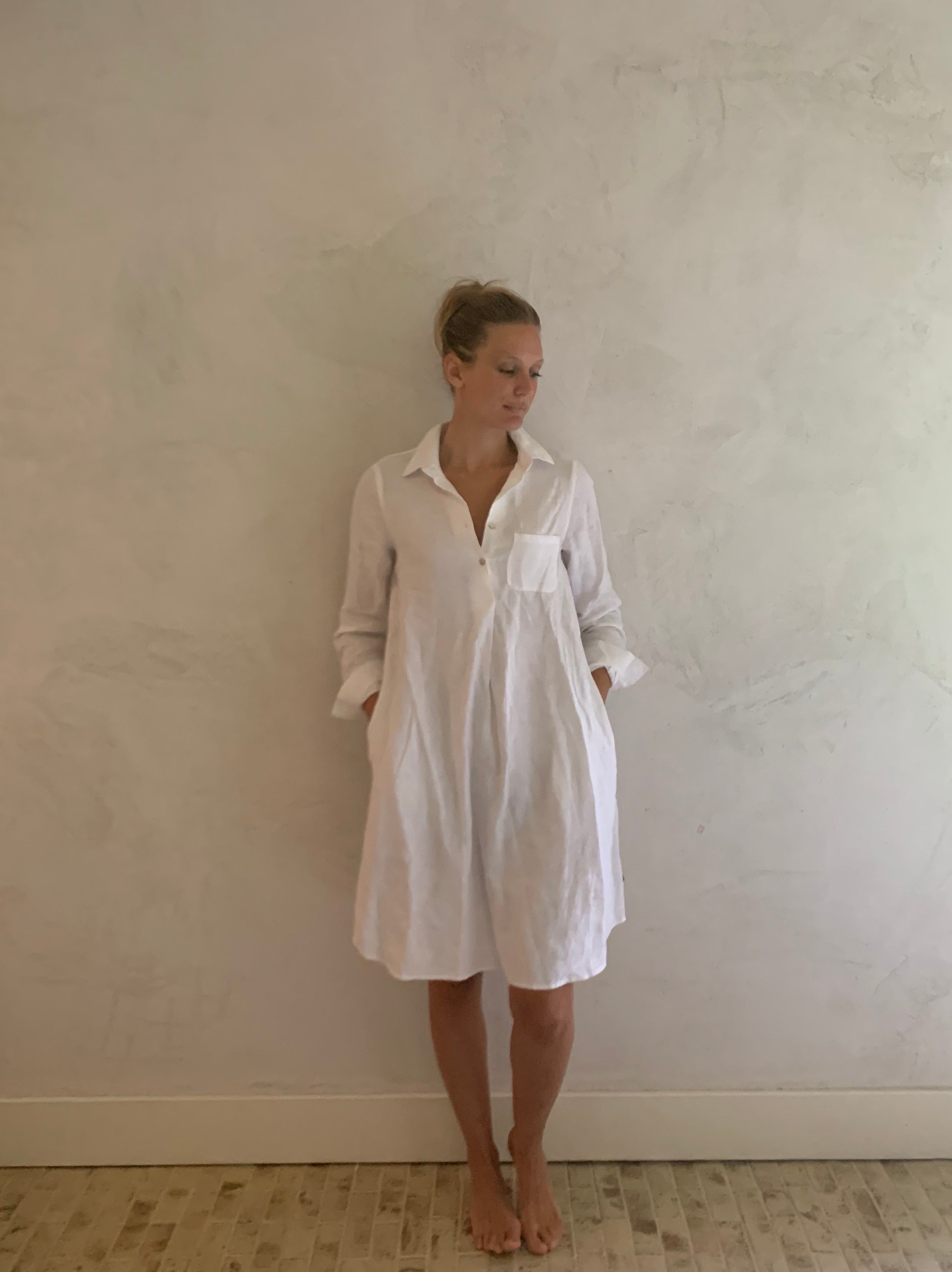 linen shirt dress- white