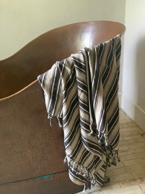 handwoven bath + beach towel/ blanket- black and natural