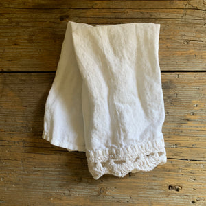 linen tea towel with knitted edge