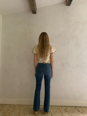 raw hem high rise vintage wide leg flare jeans