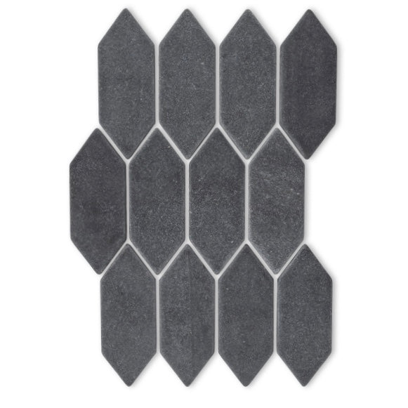 veranda black tumbled slate-1.5 x 4 picket mosaic