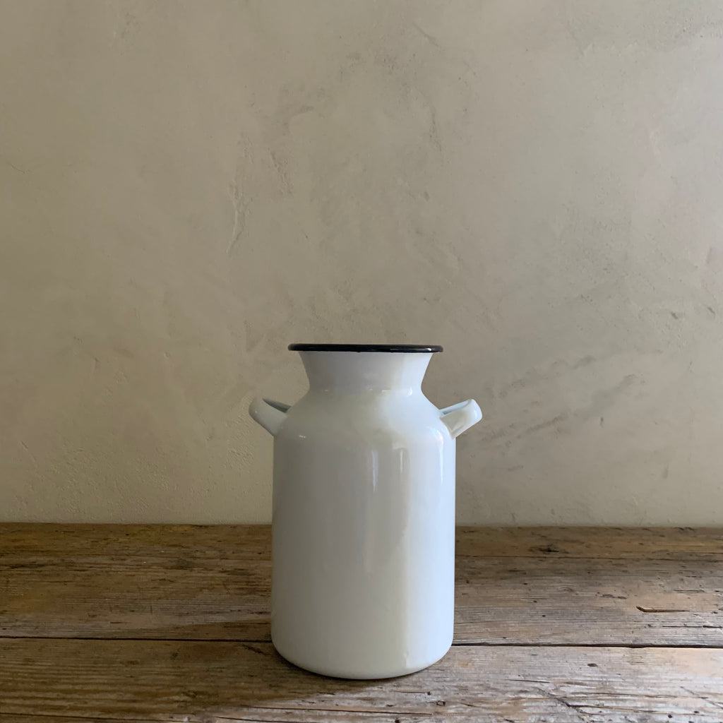enamelware milk can