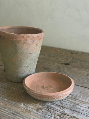 terra cotta pot with saucer