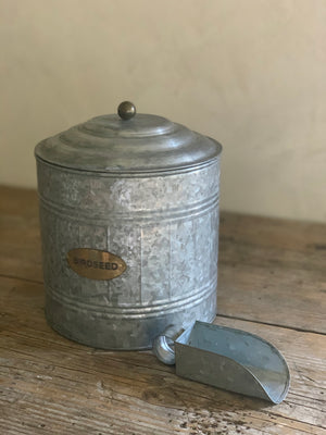 galvanized birdseed canister + scoop