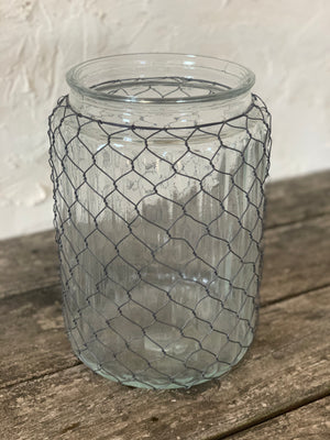 large caged wire glass vase