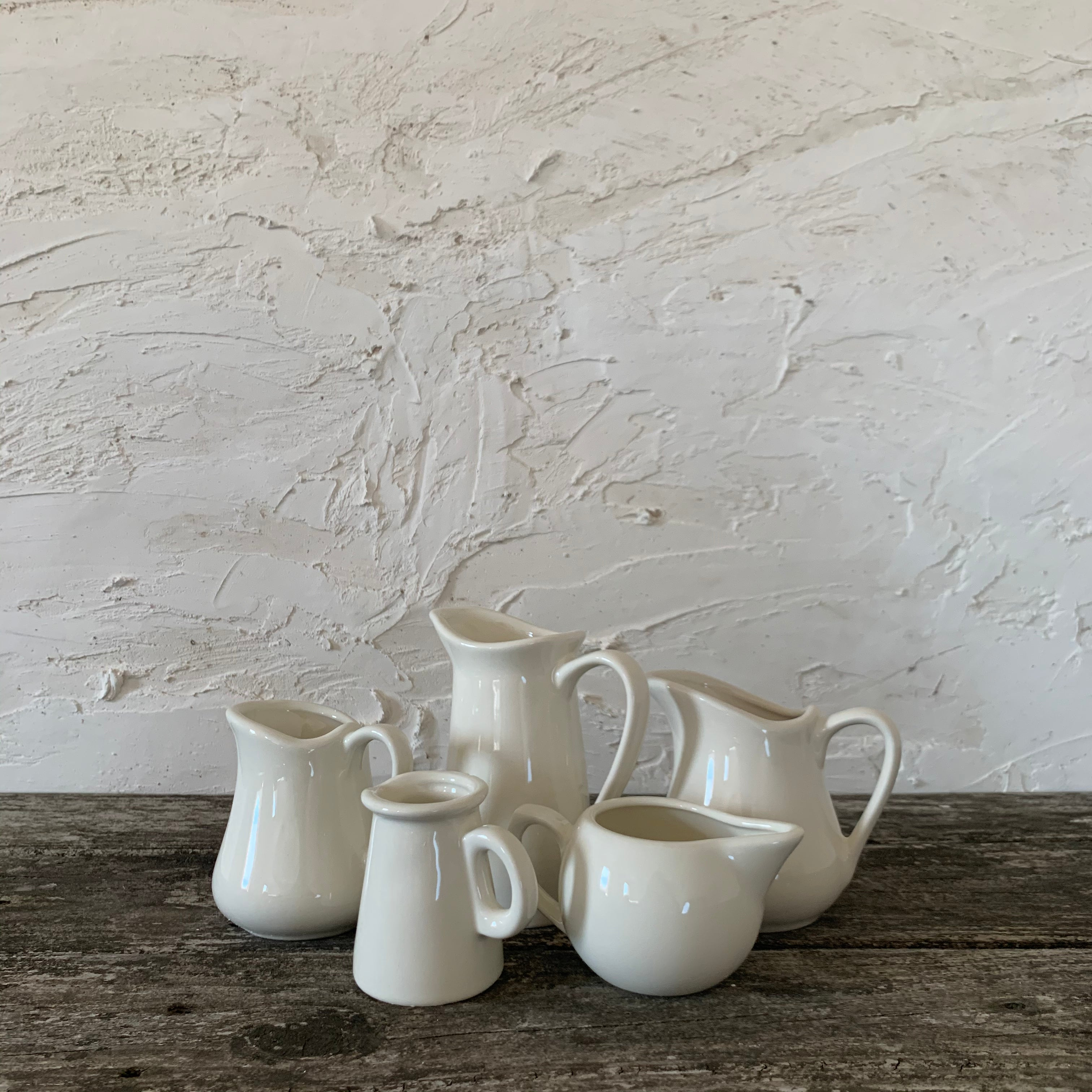 set of 5 collected ironstone pitchers