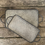 set of 2 galvanized metal serving trays