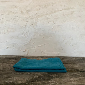 pair of stonewashed linen tea towels- marine blue